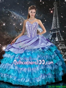 2016 Summer Cheap Multi Color Quinceanera Dresses with Ruffled Layers and Beading