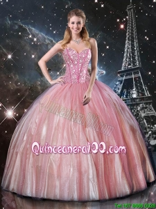 2016 Summer Discount Ball Gown Sweetheart Beaded Quinceanera Dresses in Pink