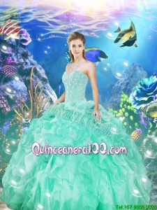 2016 Summer Discount Beaded and Ruffles Sweet 16 Dresses in Apple Green
