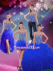 2016 Summer Popular Sweetheart Beaded and Ruffles Royal Blue Detachable Quinceanera Dresses