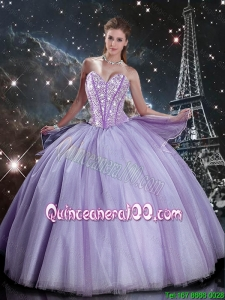 2016 Winter Perfect Sweetheart Lavender Tulle Sweet 16 Dresses with Beading