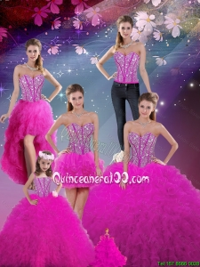 2016 Winter Perfect and Detachable Sweetheart Fuchsia Quinceanera Dresses with Beading and Ruffles