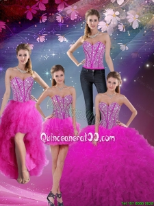 Detachable and Fashionable 2016 Fall Sweetheart Ball Gown Beaded and Ruffles Quinceanera Dresses in Fuchsia