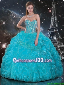 Discount 2016 Fall Aqua Blue Sweetheart Quinceanera Gowns with Beading and Ruffles