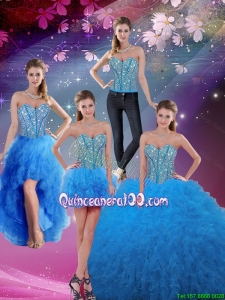 Fashionable 2016 Fall Sweetheart Floor Length Beaded Detachable Quinceanera Dresses