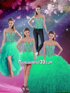 Luxurious 2016 Fall Sweetheart Beaded and Ruffles Detachable Quinceanera Dresses in Turquoise