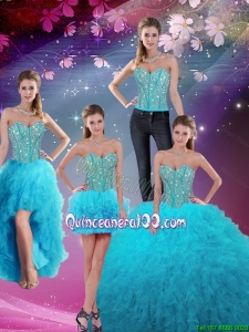 Luxurious and Detachable 2016 Fall Sweetheart Beaded and Ruffles Sweet 16 Dresses