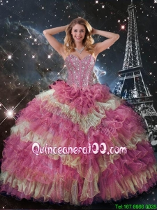 Perfect 2016 Winter Beaded Multi Color Quinceanera Dresses with Ruffled Layers