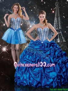 2016 Fall Beautiful Sweetheart Detachable Quinceanera Dresses with Beading and Pick Ups