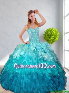 2016 Fall New Style Multi Color Quinceanera Gown with Ruffles and Beading