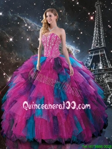 2016 Spring Pretty Multi Color Sweetheart Quinceanera Dresses with Beading