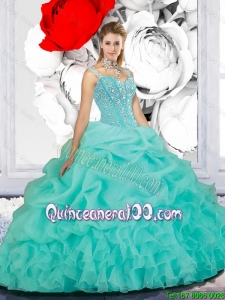 2016 Summer Cheap Beaded Ball Gown Straps Sweet 16 Dresses in Turquoise
