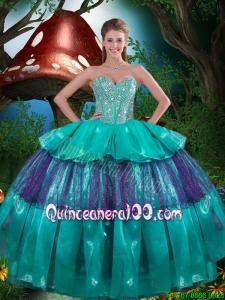 2016 Summer Cheap Sweetheart Beaded Quinceanera Dresses with Ruching