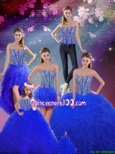 2016 Summer Detachable Beaded and Ruffles Sweetheart Wonderful Sweet 16 Dresses in Royal Blue