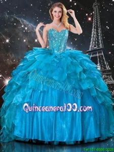 2016 Summer Discount Ball Gown Beaded Detachable Quinceanera Gowns in Blue