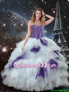 2016 Winter Perfect Sweetheart Beaded Quinceanera Dresses in White and Purple
