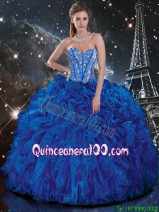 Fashionable 2016 Fall Royal Blue Quinceanera Dresses with Beading and Ruffles