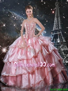 Fashionable 2016 Fall Sweetheart Beaded Quinceanera Gowns in Baby Pink