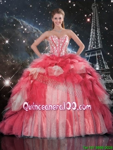 Luxurious 2016 Fall Beaded Ball Gown Quinceanera Dresses with Brush Train