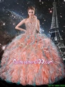 Luxurious 2016 Fall Ruffles and Beaded Quinceanera Dresses in Multi Color