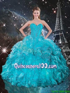 Luxurious 2016 Fall Sweetheart Teal Quinceanera Gowns with Ruffles and Beading