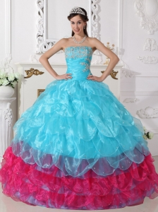 Aqua Blue and Hot Pink Quinceanera Dress with Ruffle Pieces