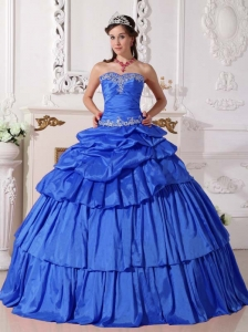 Blue Taffeta Detachable Quinceanera Dress with Beaded Appliques