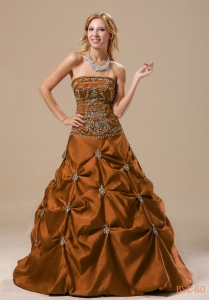 Vintage Inspired A-line Brown Embroidered Quinceanera Dresses