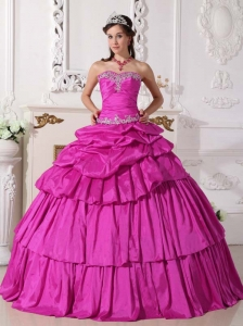 Detachable Fuchsia Sweetheart Ball Gown Sweet Sixteen Dresses