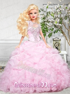 Baby Pink Quinceanera Dress For Barbie Doll with Beading and Ruffles
