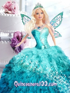 Blue Dress For Barbie Doll with Appliques On Quinceanera Party