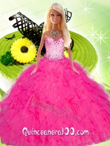 Hot Pink Gown for Barbie Doll with Beading and Ruffles