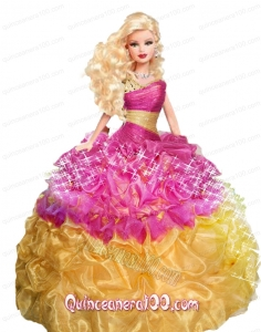 Multi-color Barbie Doll Dress with Beading and Pick-ups
