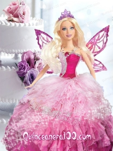 Pink Quinceanera Dress For Barbie Doll with Beading and Ruffles