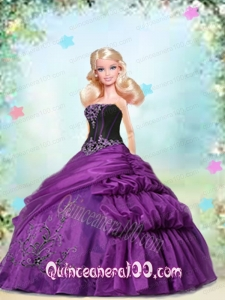 Purple Dress Made to Fit the Barbie Doll with Appliques