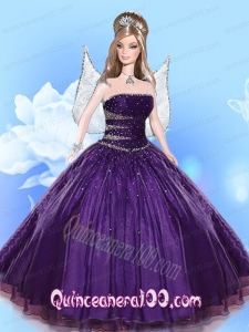 Beading Quinceanera Dress For Barbie Doll in Dark Purple