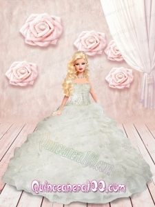 Appliques and Ruffles Quinceanera Dress For Barbie Doll in White