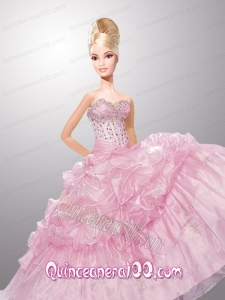 Baby Pink Quinceanera Dress For Barbie Doll with Pick-ups and Beading