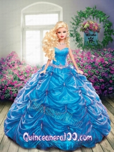 Beading and Pick-ups Quinceanera Dress For Barbie Doll in Blue