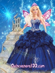 Navy Blue Quince Dress For Barbie Doll with Appliques and Pick-ups