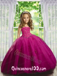 2014 Beautiful Beading and Appliques Dress in Fuchsia for Little Girl Pageant