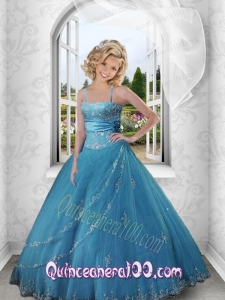 2014 Charming Appliques and Beading Blue Strapless Dress For Little Girl Pageant