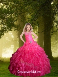 2014 Fashionable Hot Pink Little Girl Pageant Dress with Beading and Ruffles
