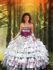 2014 Strapless Silver Little Girl Pageant Dress with Ruffled Layers