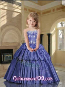 Brand New Strapless Lavender Little Girl Pageant Dress with Appliques