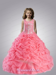 Charming Spaghetti Straps Appliques and Pick-ups Little Girl Pageant Dress in Watermelon