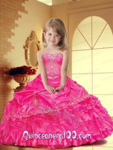Lovely Hot Pink Little Girl Pageant Dress with Appliques for 2014