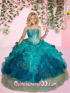 New Arrival Strapless Turquoise Little Girl Pageant Dress with Beading and Ruffles