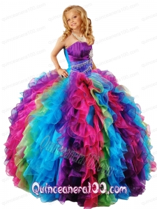New Style Strapless Multi-color Little Girl Pageant Dress with Ruffles