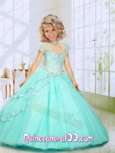 2014 Fashionable Beading Sweep Train Little Girl Pageant Dress in Mint